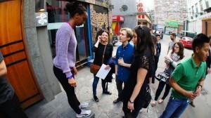 beijingkids team huddles up with NewSeed Creative facilitator Sam Smith. Huddling up are Web Editor Nimo Wanjau, Shunyi Correspondent Sally Wilson and Dining & Lifestyle Editor Clemence Jiang.